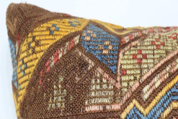 Bohemian Embroidery Embroidered Kilim Pillow Floor Pillow 18x18 Turkish Kilim Pillow Handwoven Kilim