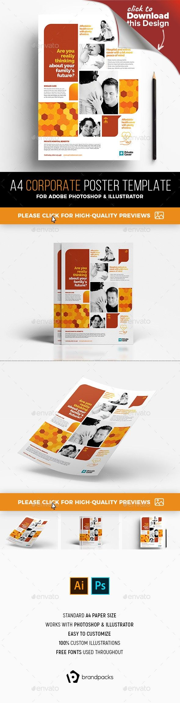 A4 Corporate Poster Template | Flyer layout, Template and Psd templates