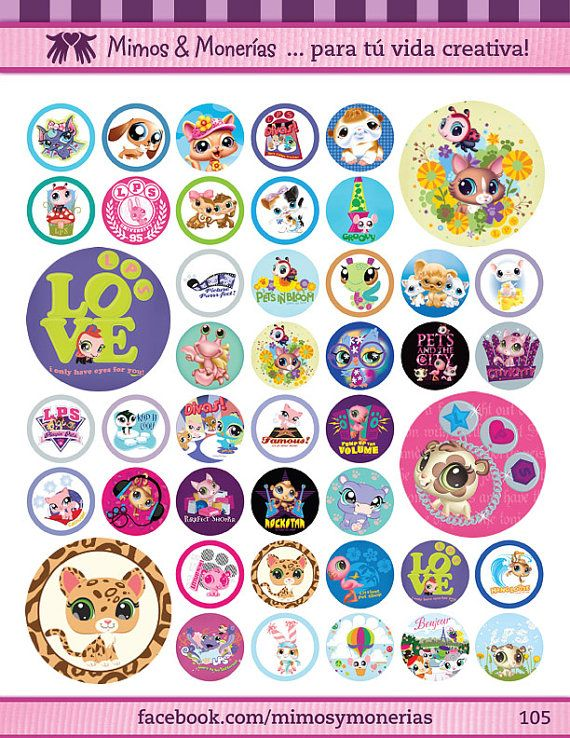 """Littlest Pet Shop Bottle Cap Images 1"""" - Digital Collage Sheet 8.5x11"""" - Hair Bow Centers, Magnets, Stickers and Crafts - INSTANT DOWNLOAD"""