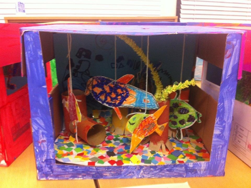 Bien-aimé Fish tanks made from cardboard boxes. Taking care of animals. Year  BB88