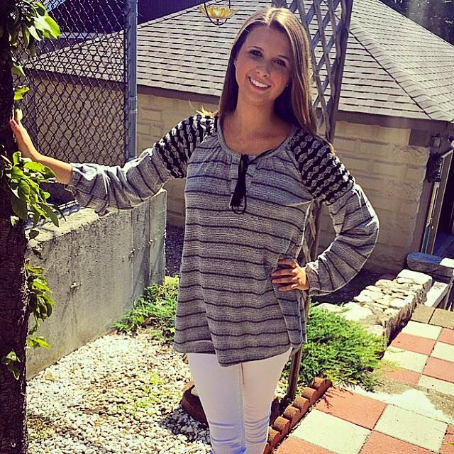 Stripe long peasant sleeve relaxed fit top with round neck tie and hi-lo hem! #mystree #fall #style #rosescorner
