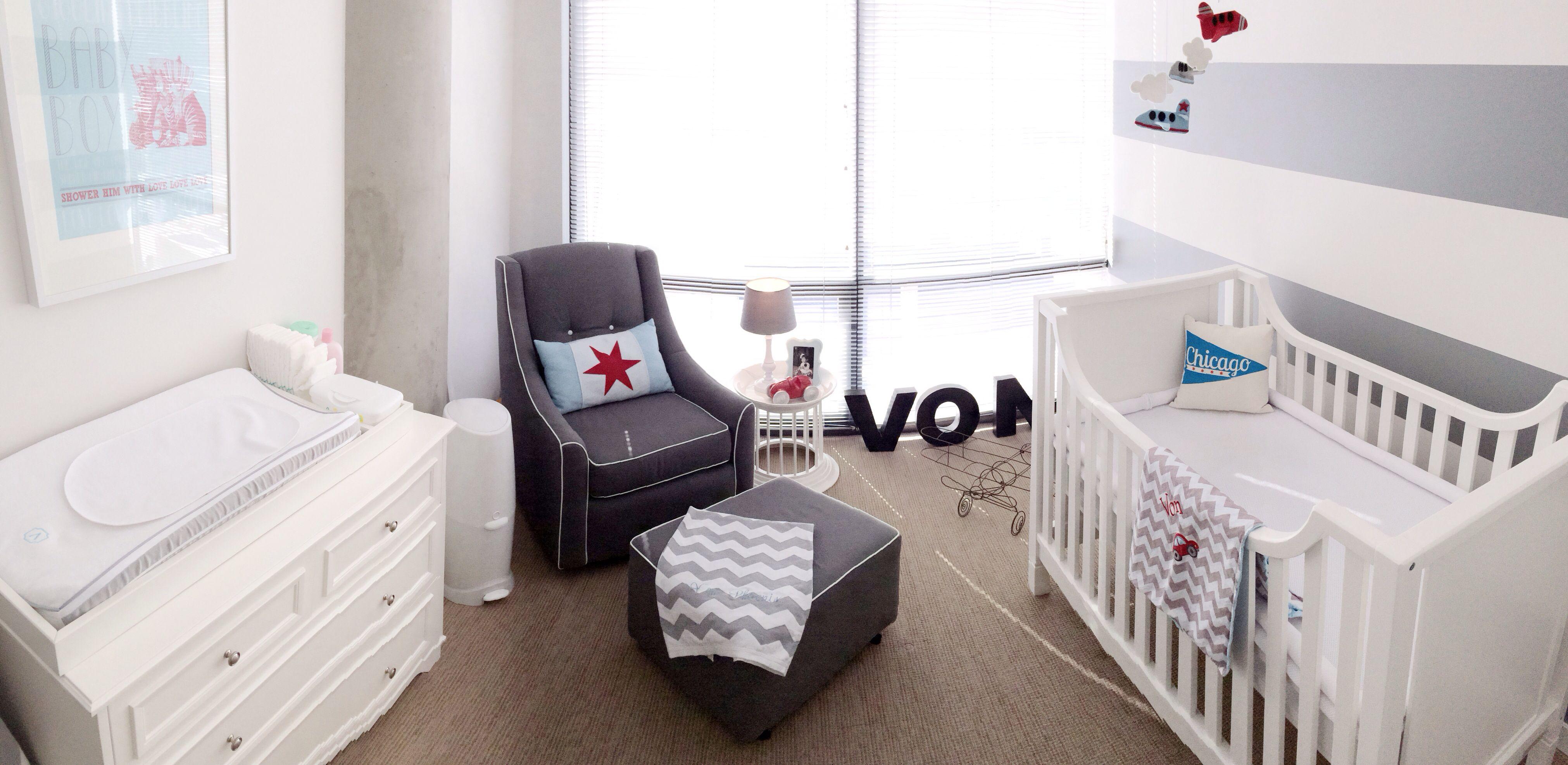 Small White Side Table For Nursery: Baby Nursery Grey & White Stripe, White Furniture, Grey