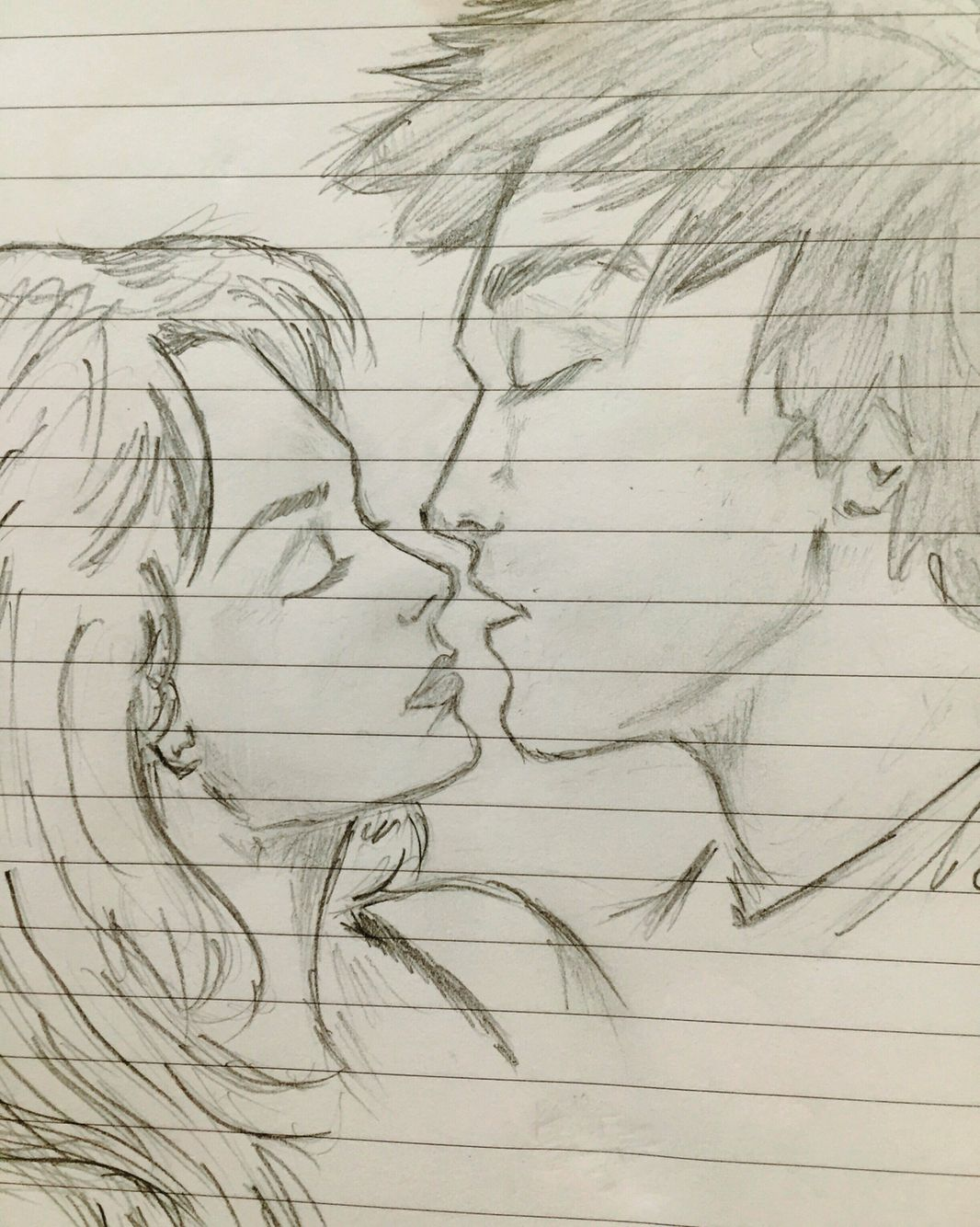 #draw #kiss #love (With images) | Couple sketch, Drawings ...