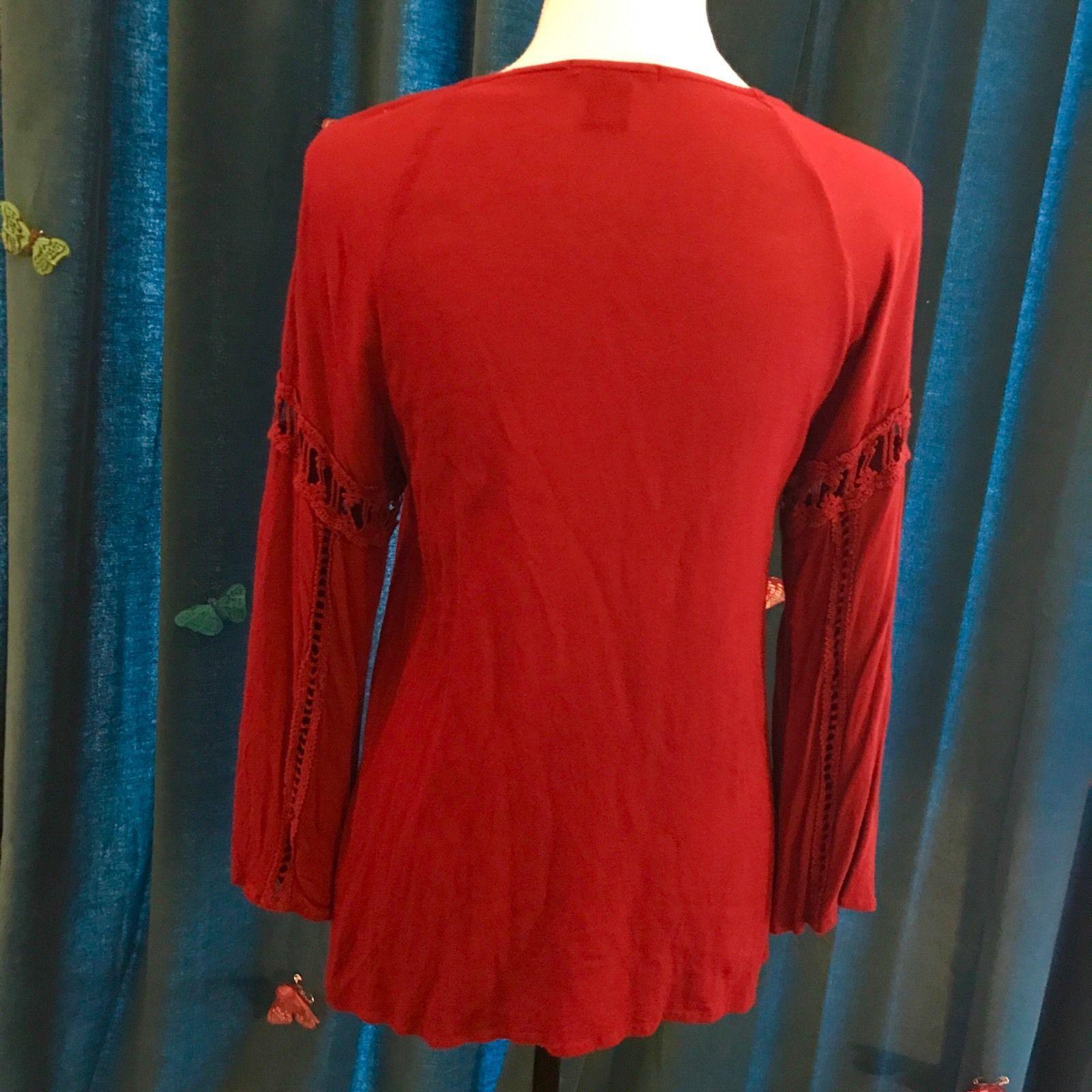 Imaginary voyage crimson burgundy red long bell sleeved crochet