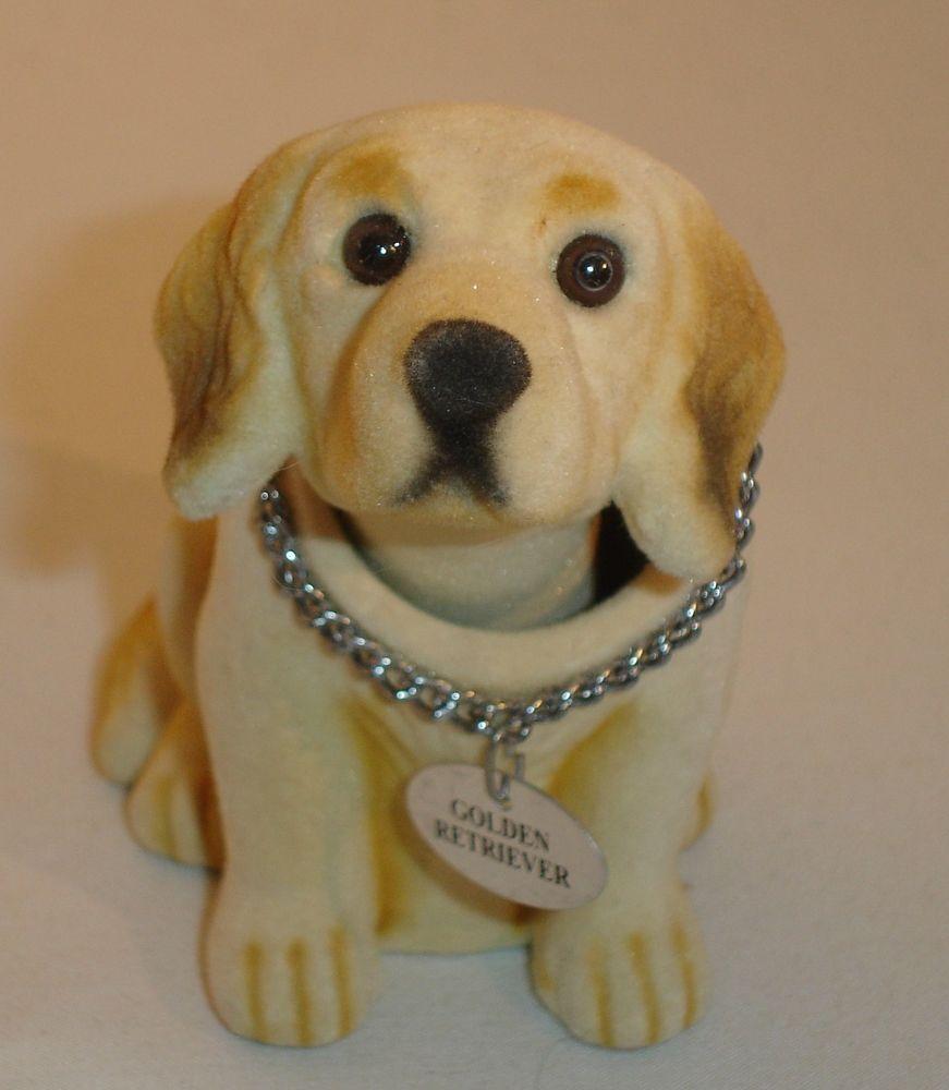 Vintage Bobble Head Dog Golden Retriever Figurine W Name Tag