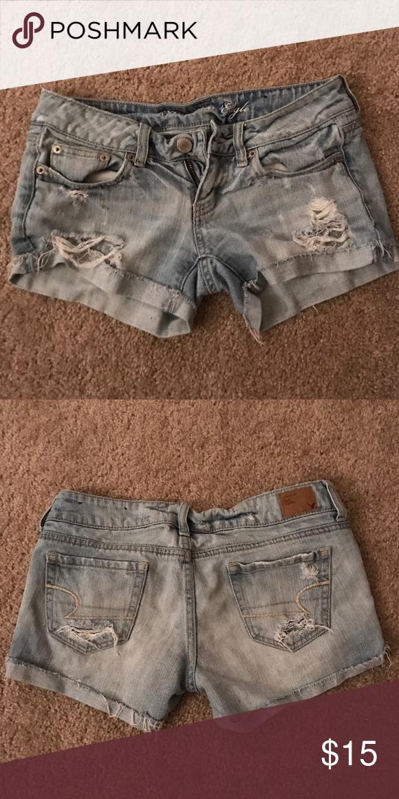 Ripped light wash American eagle shorts Hardly worn. Light wash denim shorts American Eagle Outfitters Shorts Jean Shorts