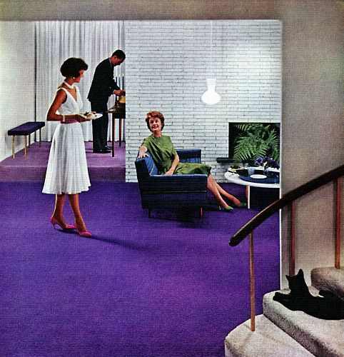 Loomed For Lots Of Living Those Heavenly Carpets By Lees James Lees Sons 1960 Mid Century Modern Design Vintage Interiors Purple Walls