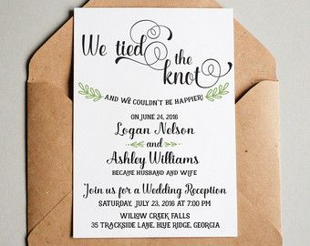 Elopement Wedding Announcement Post Reception Invitation Rsvp Card Calligraphy With Photo
