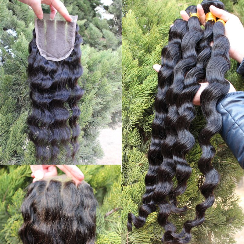 Mongolian Virgin Hair Loose Wave 4pc Bundles With 1pc 3 Part Closure Queen Hair Products Lace Closure With Bundle Loose Hairstyles Queen Hair Curly Hair Sew In