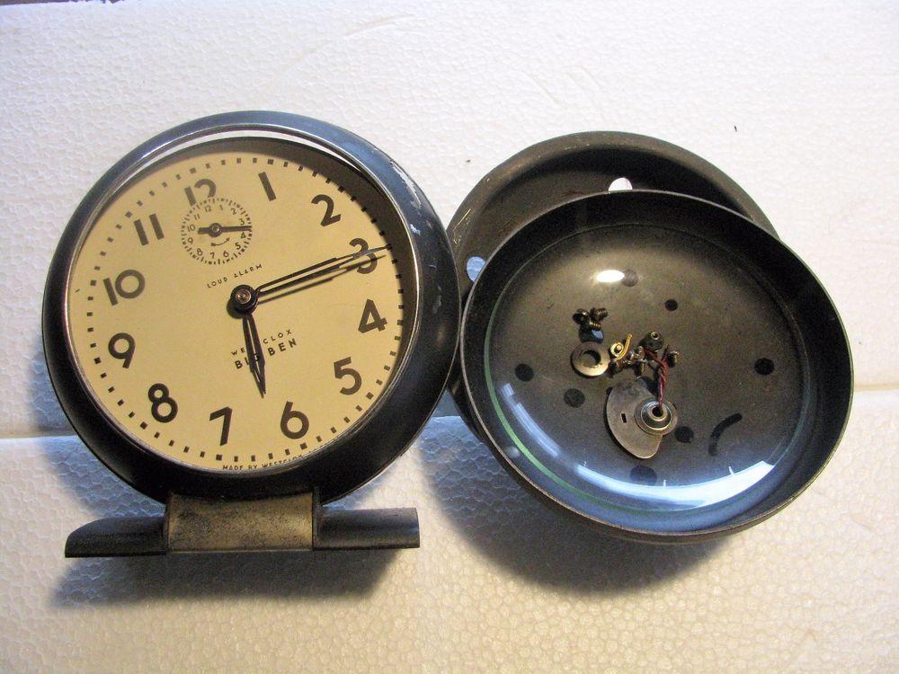 Vintage Westclox Antique wind Big Ben Alarm Clock grey chrome deco parts repair