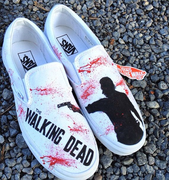 c358ff69d9f5 The Walking Dead Zombie Shoes--Toms Shoes (or Vans Converse) on Etsy ...