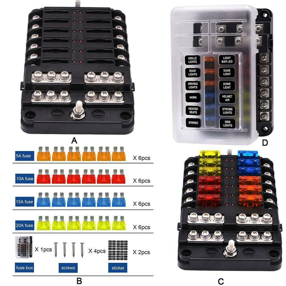 Advertisement Ebay 12 Way Fuse Box Led Warning Indicator Circuits With Negative And Positive 100a Fuse Box Led Indicator Positive And Negative
