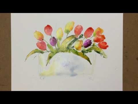Beginners Loose Watercolours ' Dancing Tulips' with Andrew Geeson - YouTube