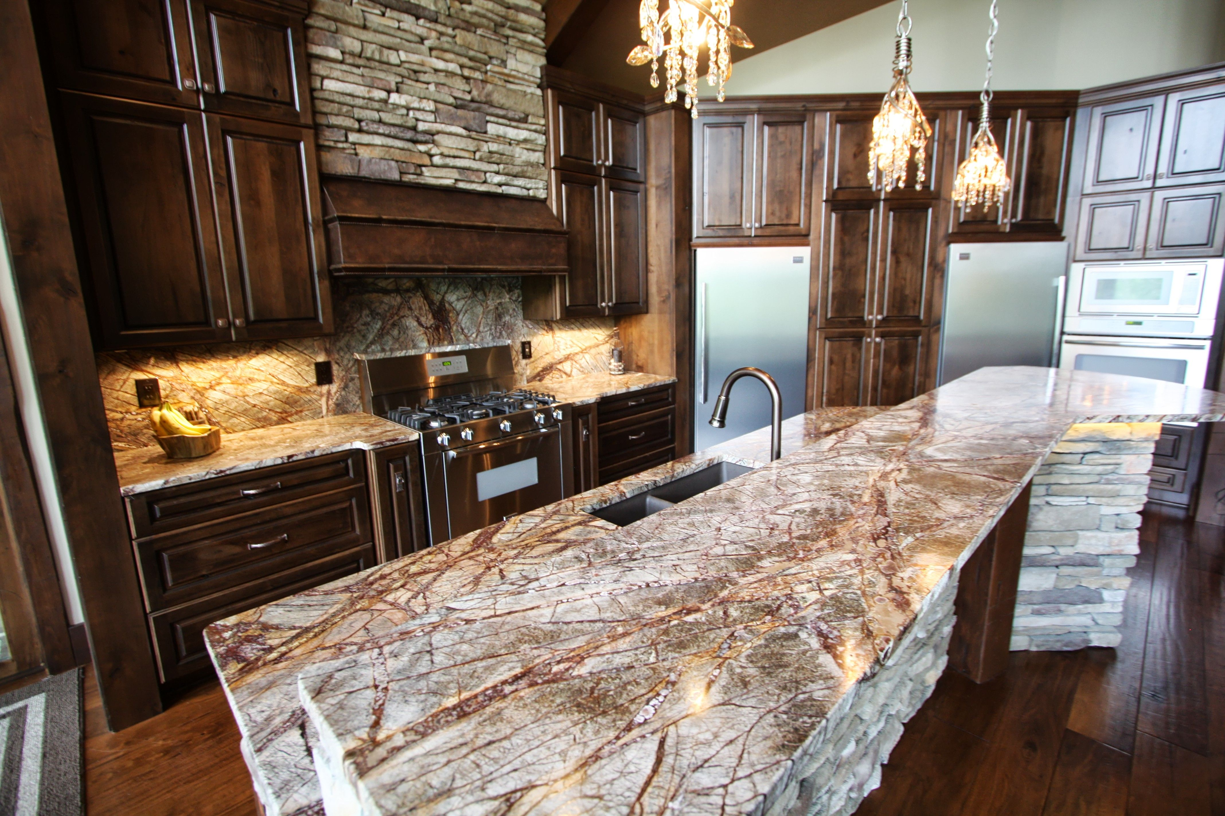Rustic Kitchen With Granite Countertops : Rustic kitchen with exotic granite counter tops custom