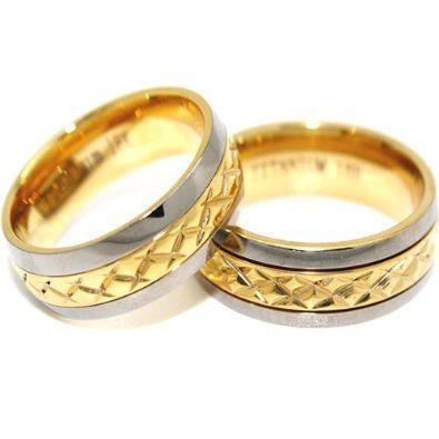 Blue Chip Unlimited Matching 7mm Titanium Middle Gold Facet Rings