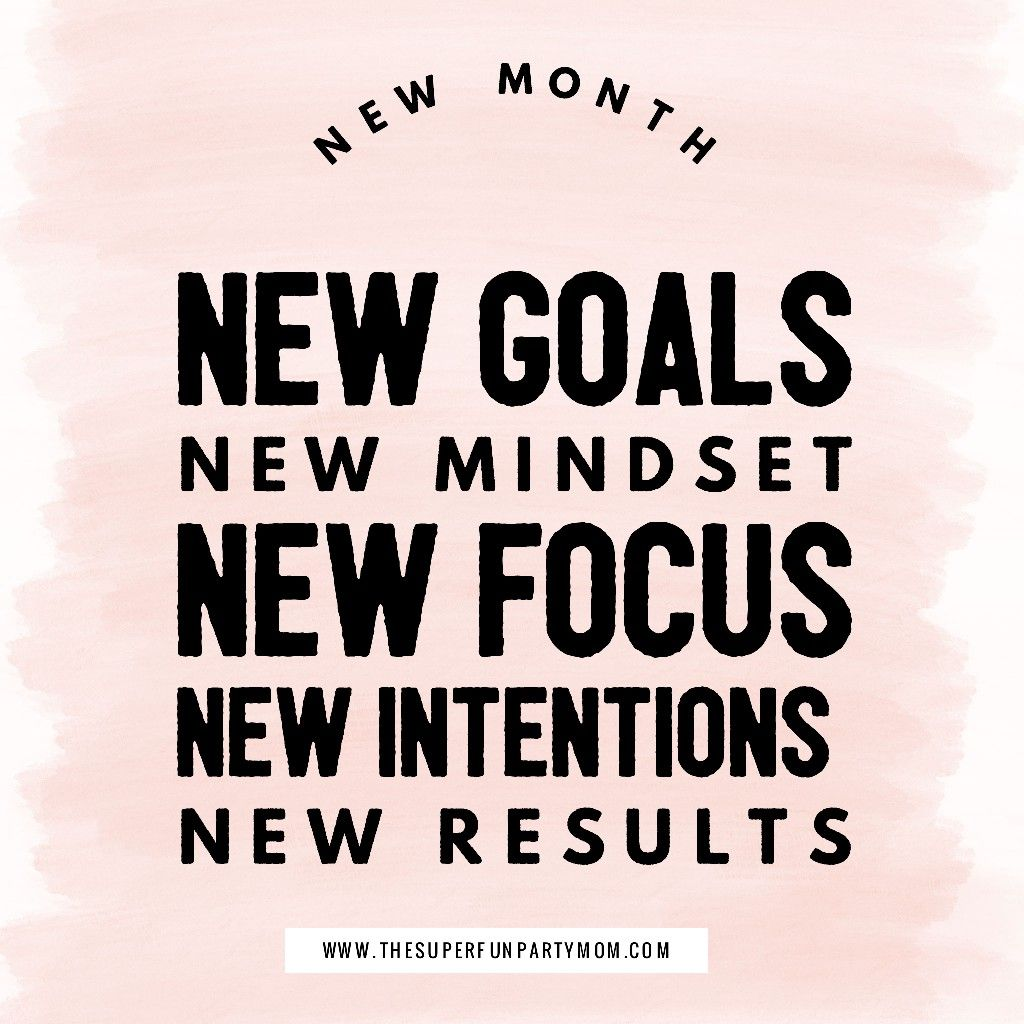 New Month New Goals New Mindset New Focus New Intentions New