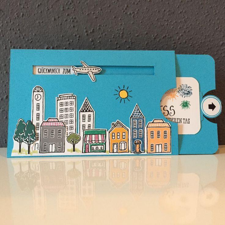 Photo of Geburtstagskarte Stadt Land Gruß mit Anleitung