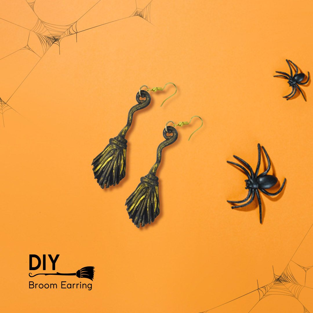BROOM EARRING #spookyoutfits