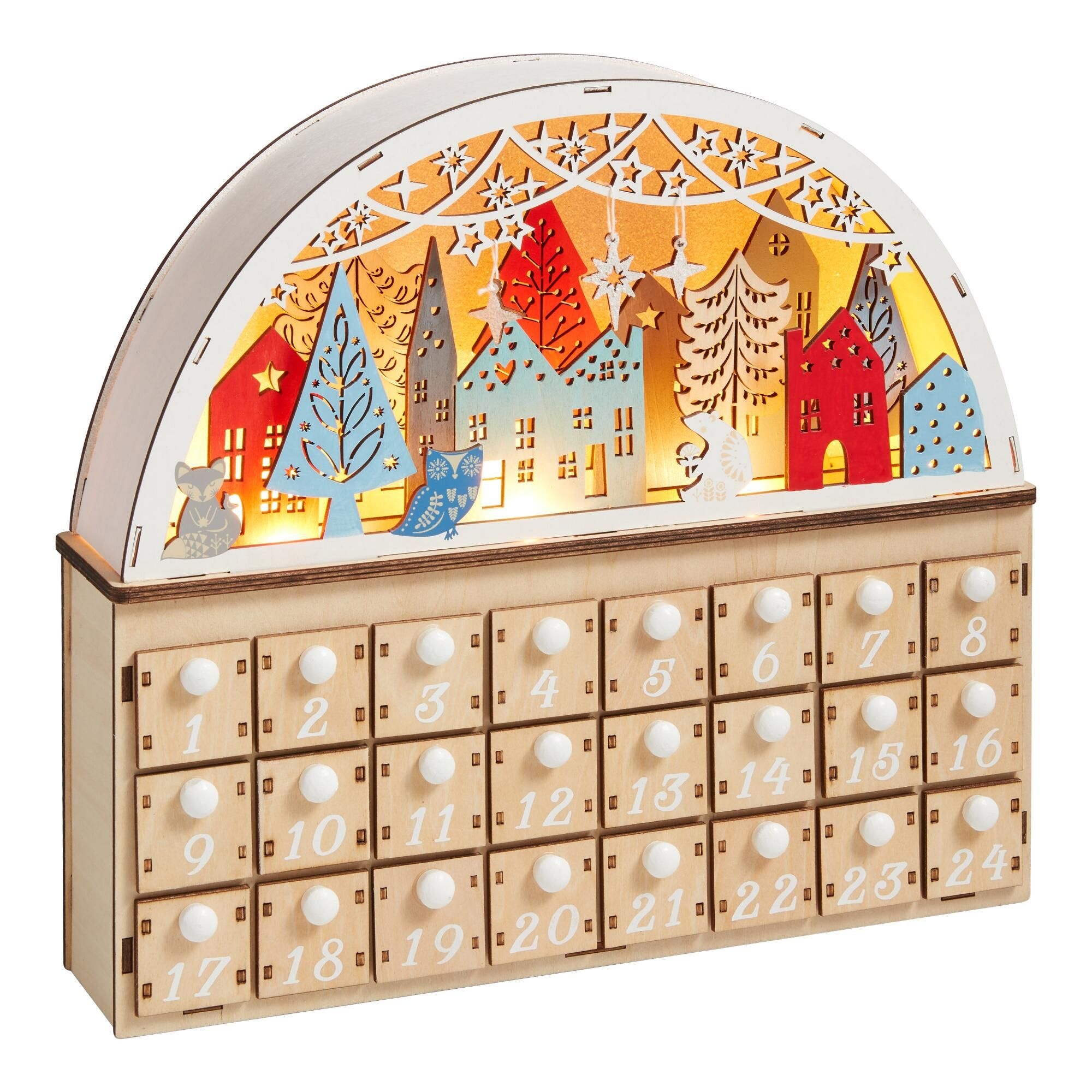 Wood Nordic Winter Led Light Up Countdown Calendar In 2020 Advent Calendars For Kids Wooden Advent Calendar Countdown Calendar