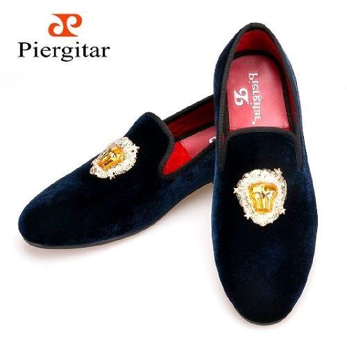 a9e1ca5ffc9 Navy Blue Piergitar Lion Buckle Men s Velvet Shoes via Piergitar Shoes.  Click on the image to see more!