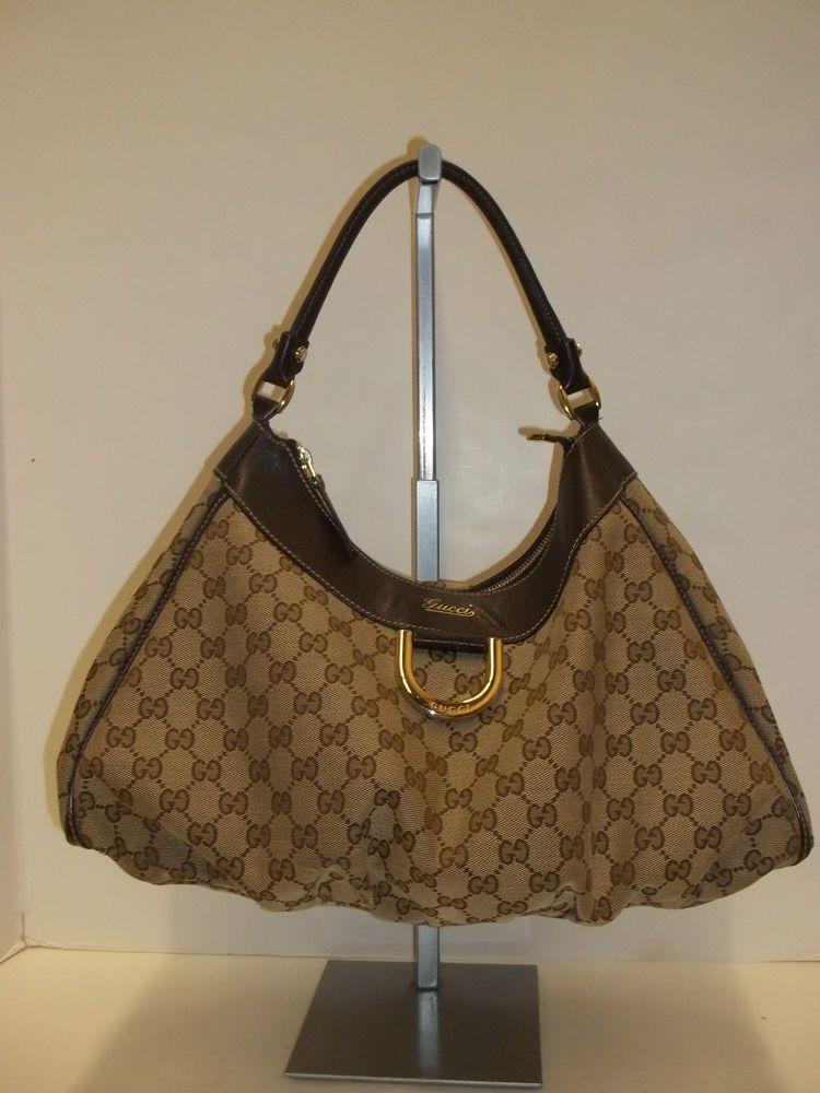 ab685117166 GUCCI Brown GG Monogram Large D Ring Hobo Handbag-CarolDiva Authenticated   Gucci  Hobo
