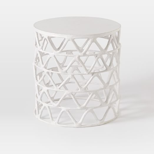 Attrayant Papier Mache Zig Zag Drum Side Table | West Elm. White End Table Stool For  Patio