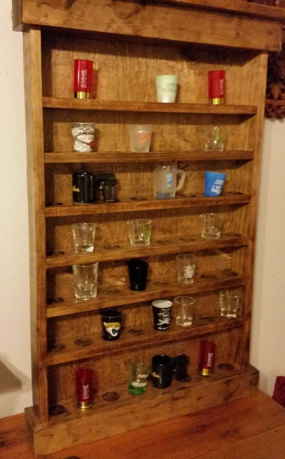 Shot Glass Display Shelf by CustomFromMaine on Etsy