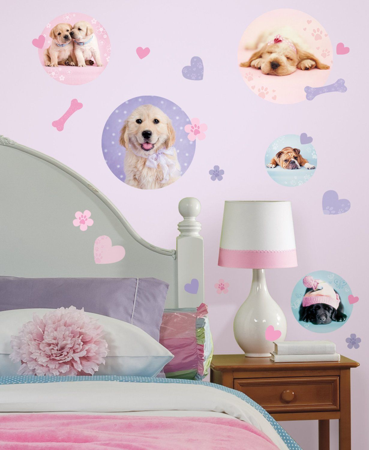 puppy dogs wall decals stickers pink purple for girls kids room puppy dogs wall decals stickers pink purple for girls