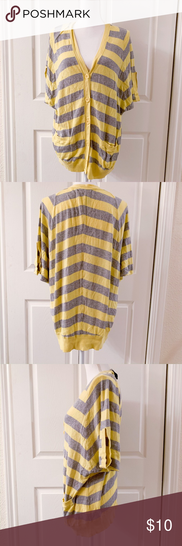 """Lucky Brand Short Sleeve """"Cape"""" Style Cardigan Brand: Lucky Brand Style: Cape Style – Short Sleeved – Button Down Color: Yellow and Grey Weight: Light…"""