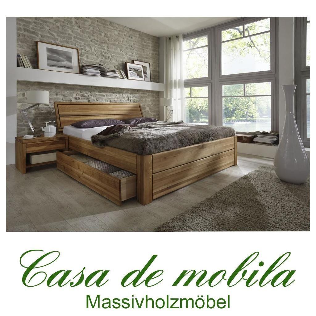 Massivholz Schubladenbett 140x200 Bett mit Schubladen Eiche massiv ...