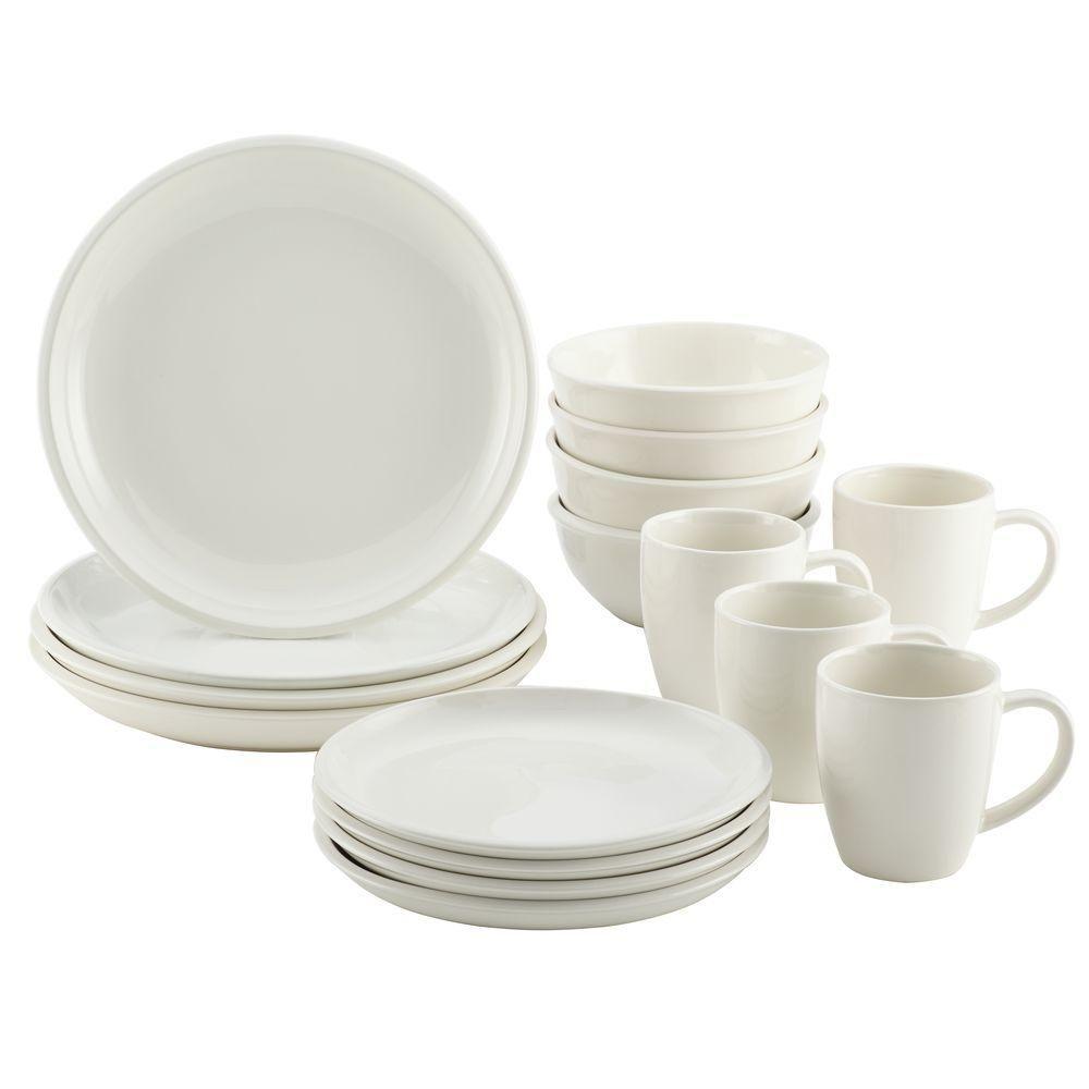 Rachael Ray Rise Stoneware 16 Piece Dinnerware Set In White 58633