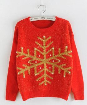 Women's Pullovers, Beading Long Sleeve Pull sweater