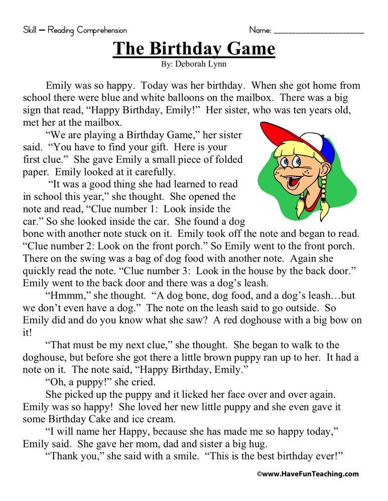 Reading Comprehension Worksheet - The Birthday Game Reading Comprehension,  Reading Comprehension Worksheets, First Grade Reading Comprehension