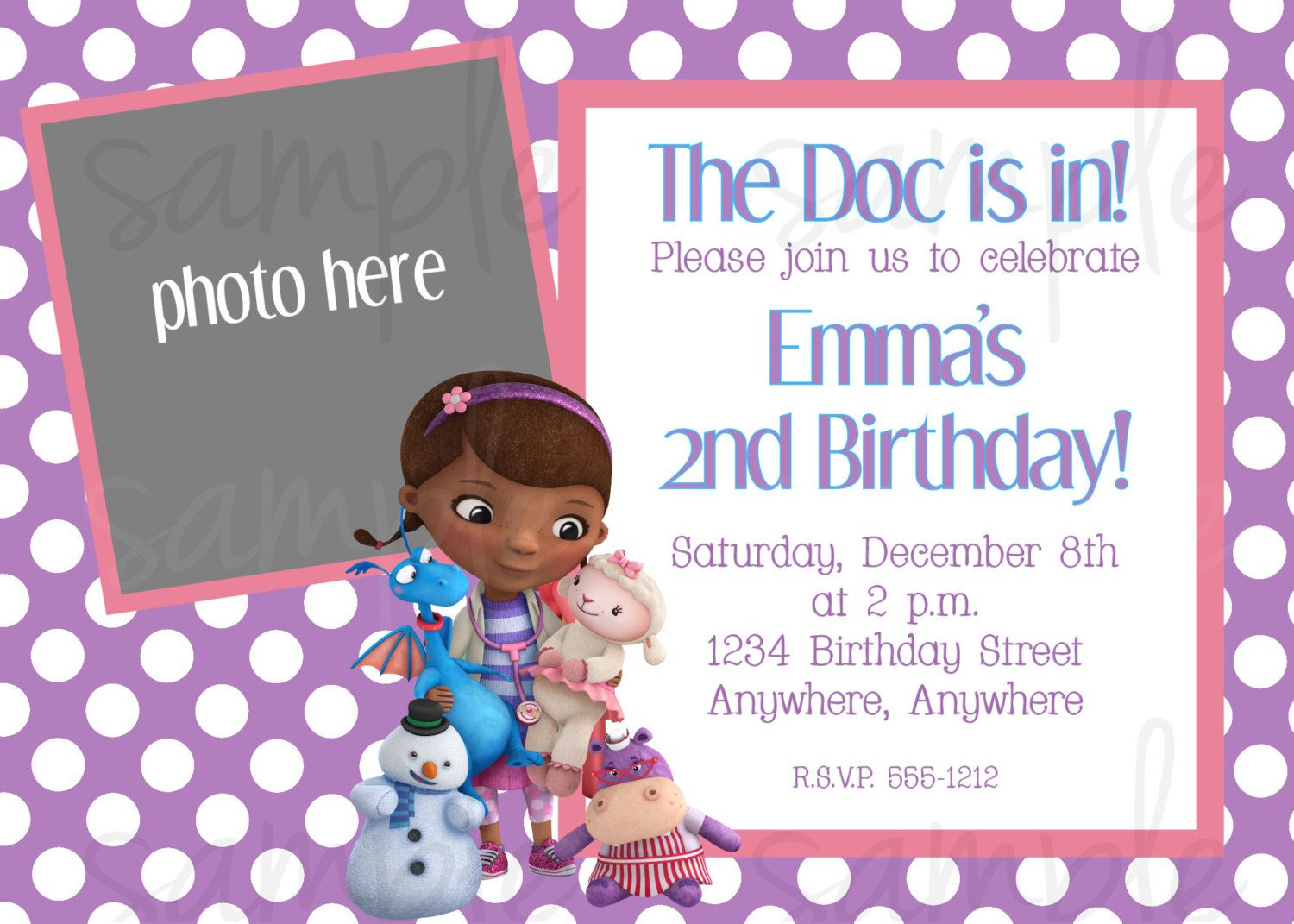 Doc McStuffins Birthday Invitation | Birthday ideas ...
