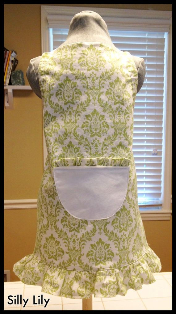 SALE Reduced Toddler Girls Apron Green and White by selenametts, $10.00