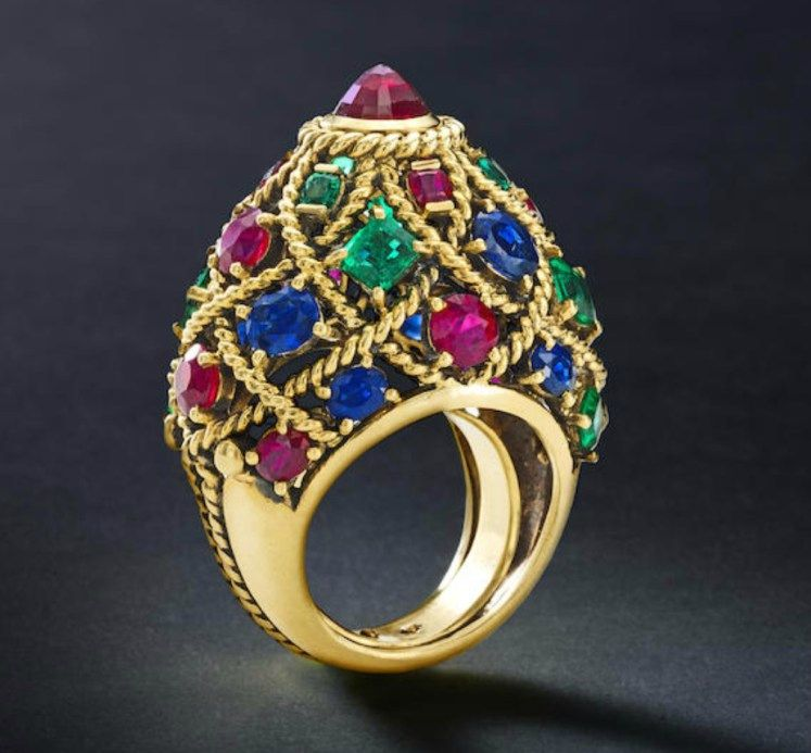 A sapphire, ruby and emerald dome ring, Cartier Plus