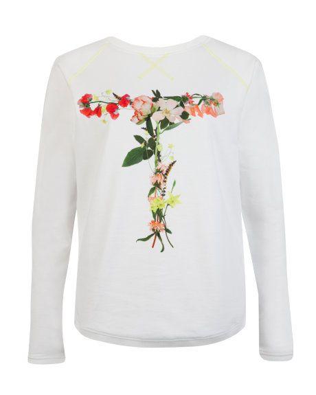 Floral print jumper - White | Tops & T-shirts | Ted Baker UK