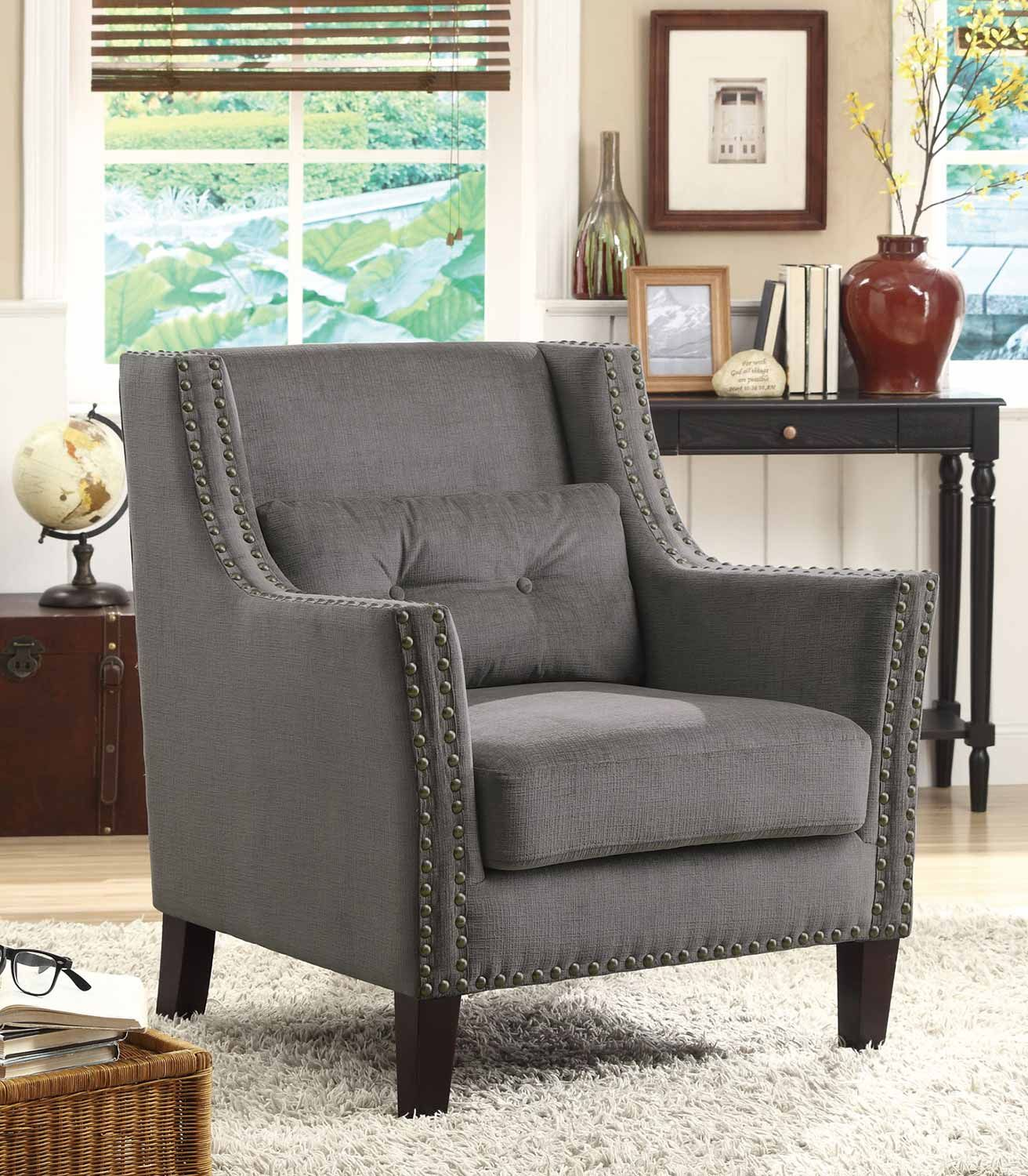Coaster Everyday Transitional Multi Color Accent Chair: Coaster 902170 Accent Chair - Grey