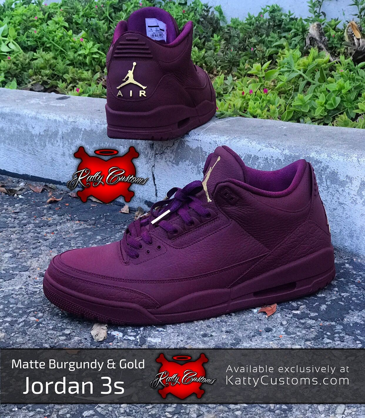 "40a4b277962 Custom Air Jordan 3 (III) – ""Matte Burgundy & Gold"" 