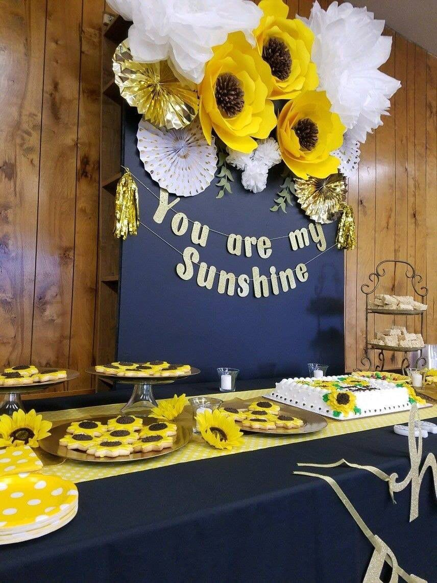 Sunflower Birthday Party with paper flowers, and sunflower