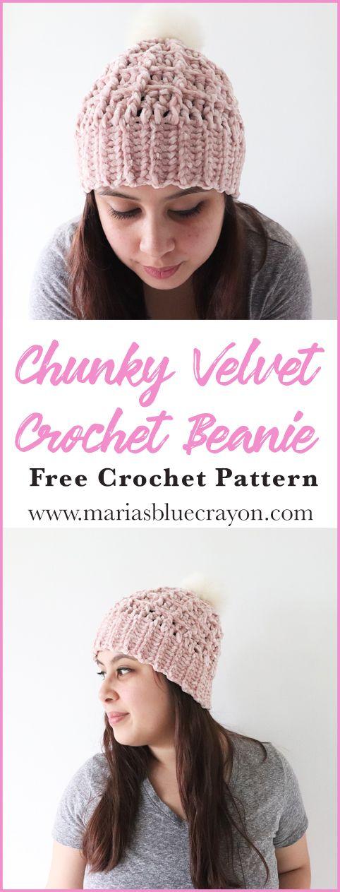 Crochet this chunky velvet beanie using Bernat Velvet yarn with the free crochet  pattern on Maria s Blue Crayon blog.  free  pattern  freepattern  velvet ... 28c4710b871