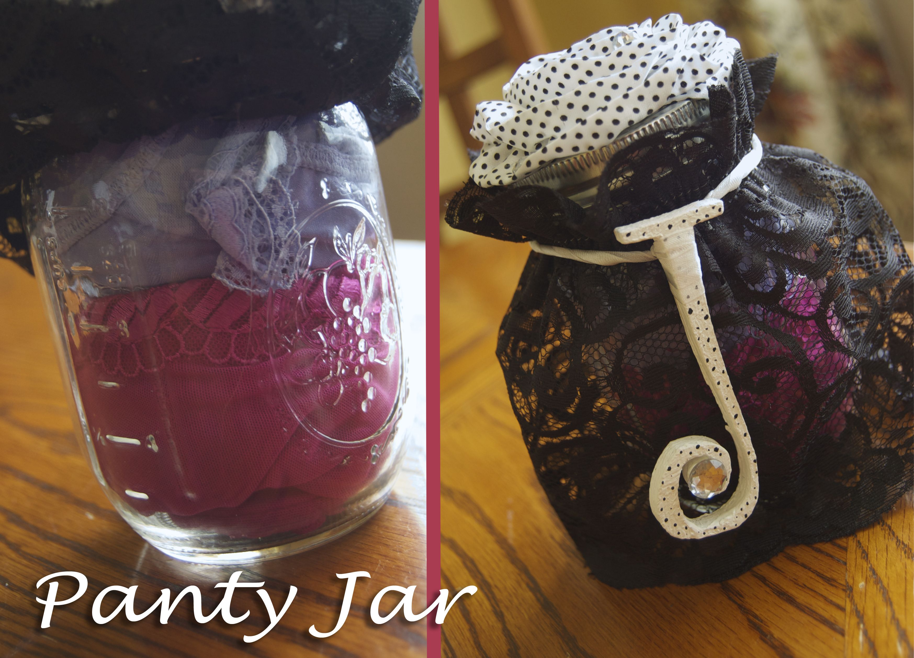 wedding shower poem ideas%0A Panty Jar for lingerie bridal shower gift  Mason jar filled with panties   covered with wide elastic lace ribbon  Topped with a fabric bow