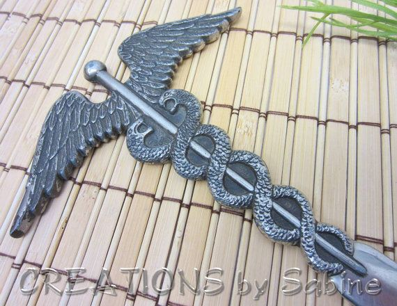 Medical Letter Opener JJ  Caduceus Snakes Wings Medical