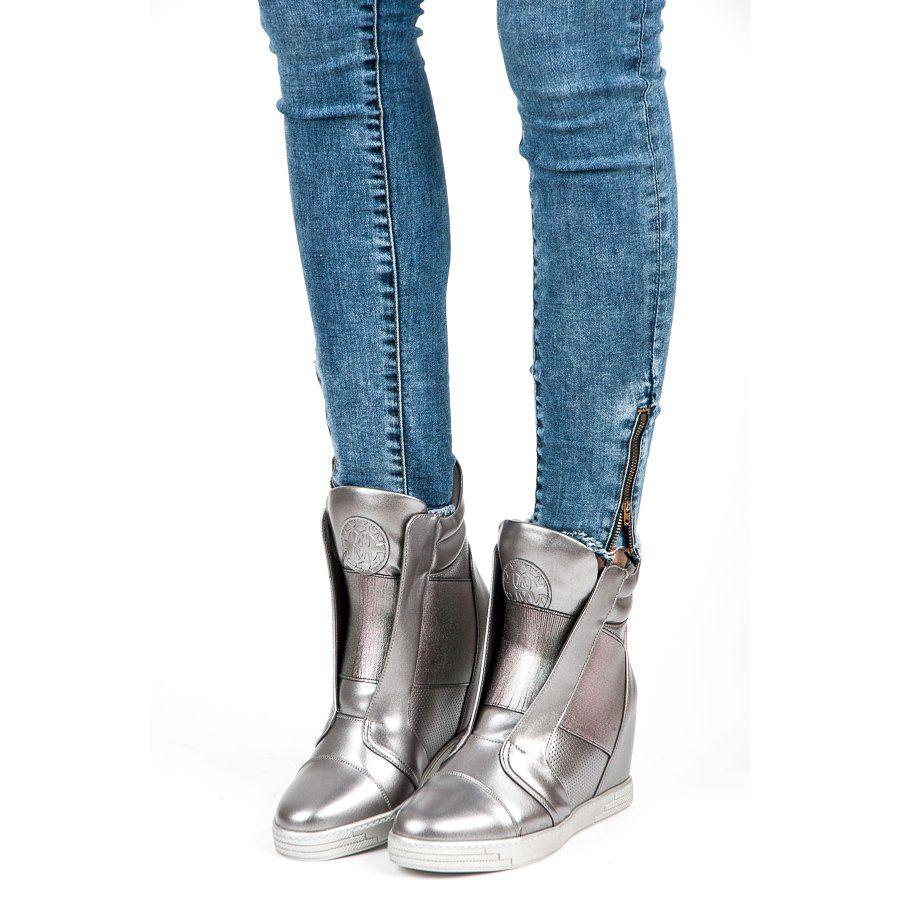 Mtt Sport Srebrne Trampki Na Koturnie Szare Boots Shoes Wedge Boot