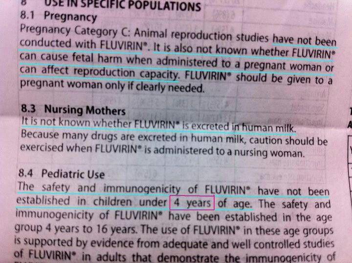 Flu shots and breast feeding