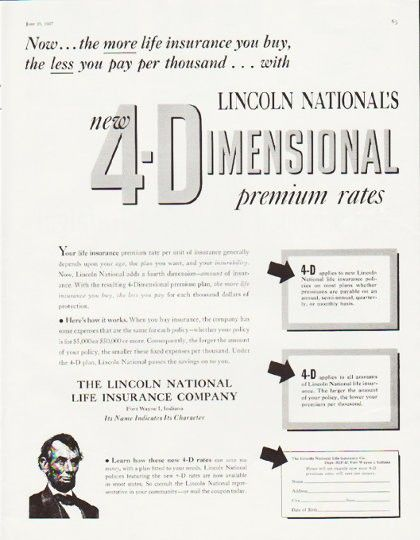 1957 Lincoln National Life Insurance Vintage Ad 4 Dimensional National Life Insurance National Life Life Insurance Companies