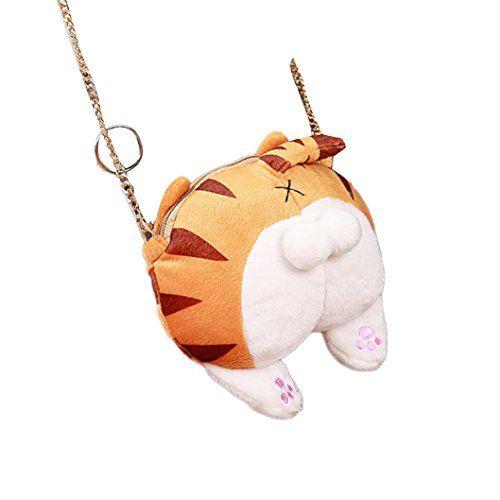 Besde Womens Cute Cat Butt Tail Plush Handbag Crossbody Shoulder Bags Purse d44a17e3fc