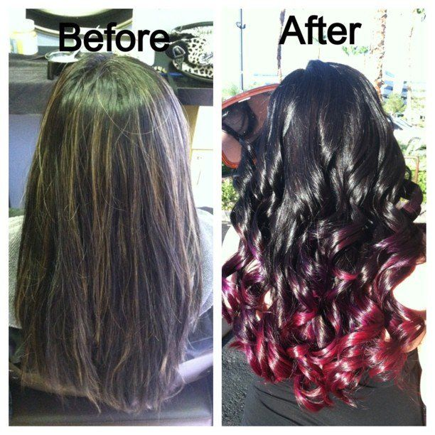 Brown and Caramel highlights to a black to red violet ombre. | Yelp
