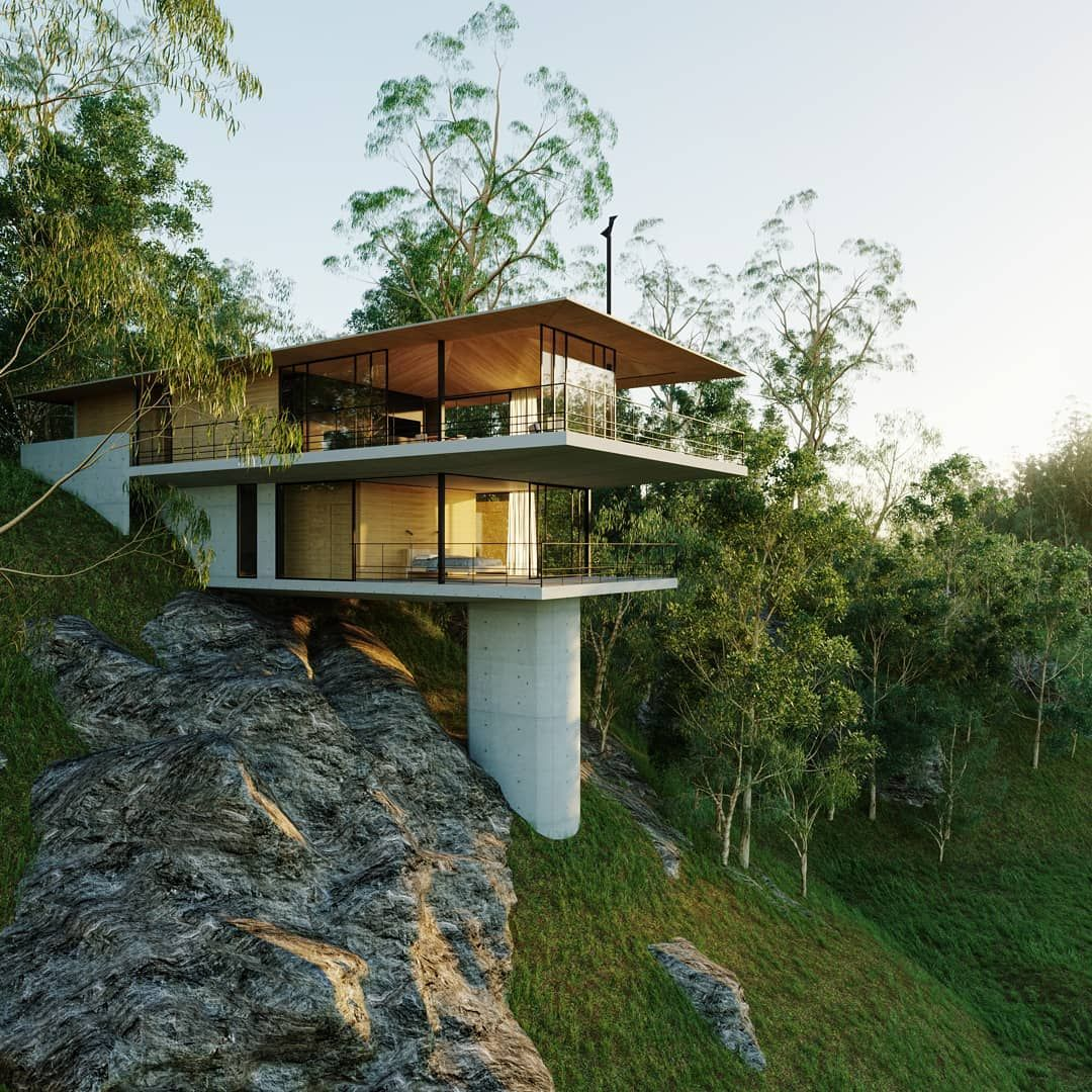 Duncan Howdin On Instagram A Concept Design For A Rocky Steep Site Design Architecture Rend Architectural Design House Plans Crazy Houses House On Stilts
