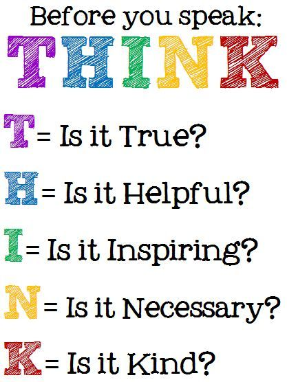 Think Before You Speak Printable Posters | School signs, Teaching ...
